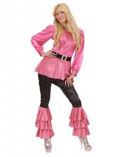 70er Disco Satin-Kleid mit Pailletten rosa