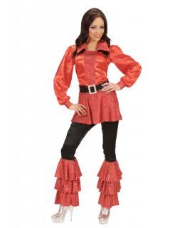 70er Disco Satin-Schlaghosen Damen mit Pailletten schwarz-rot
