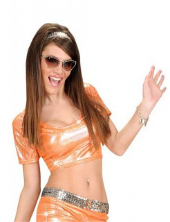 70er Disco Glitzer-Top bauchfrei orange