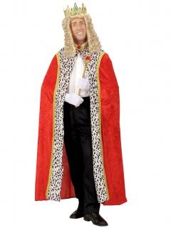 König Umhang Königin Kostüm-Zubehör rot-gold-weiss