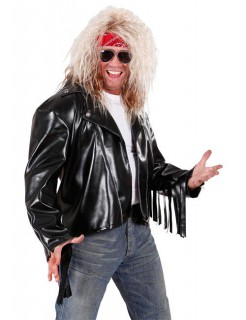 Rocker Lederjacke Biker mit Fransen schwarz