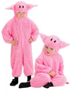 Schweinchen Kinderkostüm Babykostüm aus Plüsch pink