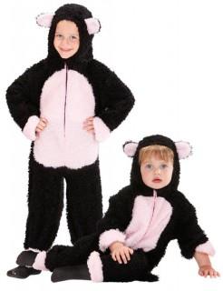 Katze Baby und Kleinkinderkostüm aus Plüsch schwarz-rosa