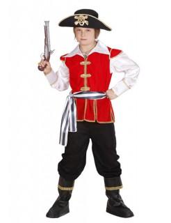 Pirat Kinderkostüm Kapitän rot-schwarz-weiss