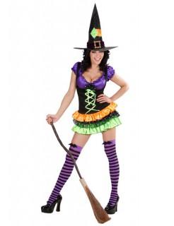 Sexy Hexy Zauberin-Kostüm für Damen Halloweenkostüm schwarz-lila-orange