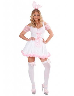Bunny Damen-Kostüm Häschen weiss-rosa