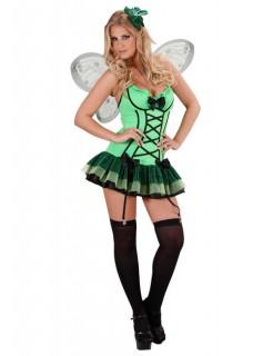 Sexy Schmetterling Damenkostüm Fee grün-schwarz