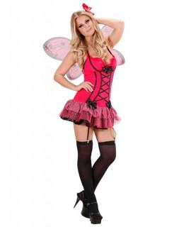Sexy Schmetterling Fee Damenkostüm Elfe pink-schwarz