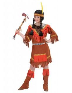 Indianerin Western Kinderkostüm leo-braun-rot