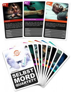 Selbstmord-Quartett Kartenspiel 32-teilig bunt 9x6x2cm