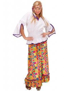 60er Hippie Samt Damenkostüm weiss-bunt
