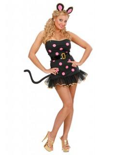 Maus-Kleid Damenkostüm schwarz-pink