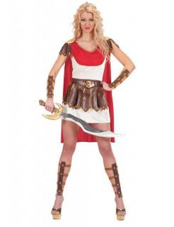 Gladiatorin Damenkostüm römische Kriegerin weiss-braun-rot