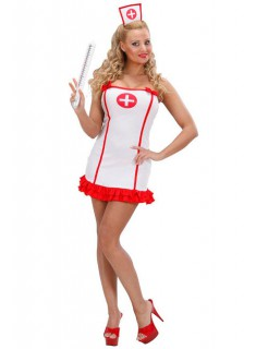 Krankenschwester Rüschen-Kleid Damenkostüm weiss-rot