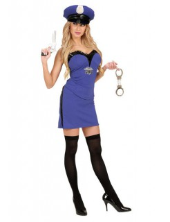 Polizistin Damenkostüm Bandeaukleid dunkelblau-schwarz