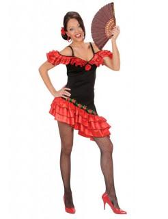 Flamenco Damenkostüm Spanierin rot-schwarz