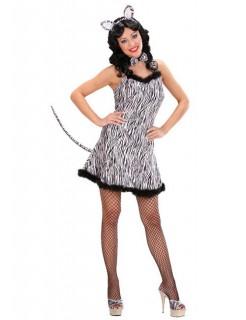 Zebra Samt-Mini-Kleid Damenkostüm schwarz-weiss