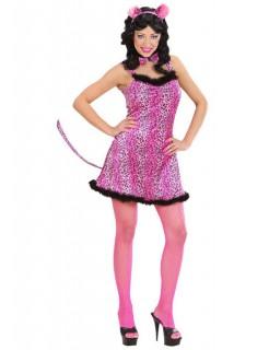 Leopard Samt-Mini-Kleid Damenkostüm pink-schwarz