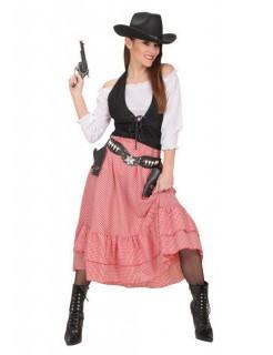 Wildwest Damenkostüm Cowgirl weiss-schwarz-rot