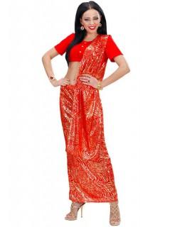 Bollywood Sari Damenkostüm Inderin rot-gold