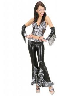 Sexy Schlaghose Zebra für Damen schwarz-weiss