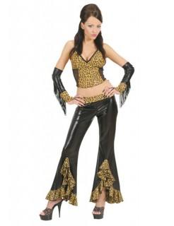 Sexy 80er Schlaghose für Damen Leopard schwarz-braun