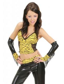 Sexy Tiger Handschuhe mit Fransen schwarz-gelb