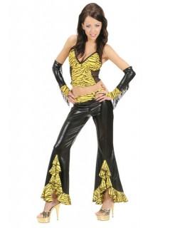 Sexy Damen-Schlaghosen Tiger schwarz-gelb