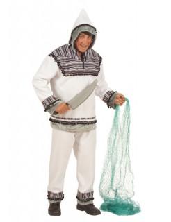 Eskimo Plüsch-Kostüm weiss-blau-grau