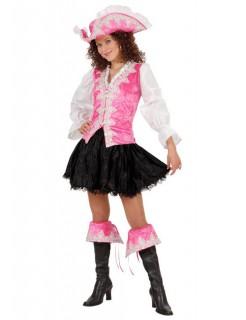 Barock Piratin Damenkostüm rosa-weiss-schwarz
