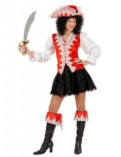 Barock Piratin Damenkostüm rot-weiss-schwarz