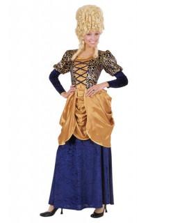 Edelfrau Barock Damenkostüm Renaissance blau-gold