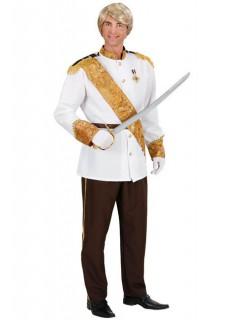 Edler Prinz Herrenkostüm weiss-gold-schwarz
