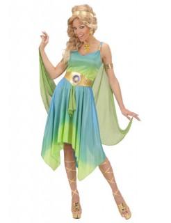 Orakel Göttin Damenkostüm Antike grün-blau-gelb