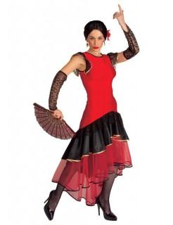 Flamenco Tänzerin Damenkostüm Spanierin rot-schwarz
