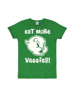 Looney Tunes™ Schweinchen Dick-T-Shirt Veggies Slim Fit grün-weiss
