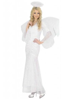 Verführerischer Engel Damenkostüm mit Spitze weiss