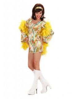 70er Disco Satin-Kleid Damenkostüm grün-bunt