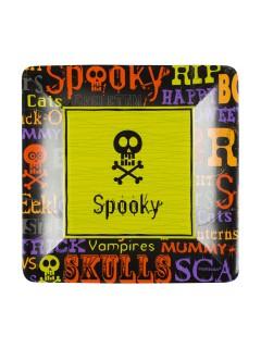 Halloween Pappgeschirr Spooky 8 Teller schwarz-bunt 18x18cm