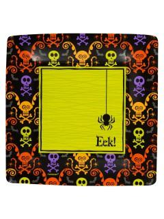 Halloween Pappgeschirr Spooky 8 Teller schwarz-bunt 25x25cm