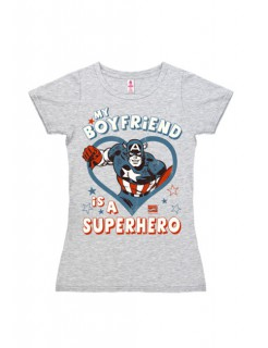 Captain America Shirt für Damen My Boyfriend is a Superhero grau-blau