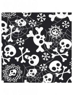 Halloween-Pappgeschirr Totenköpfe Servietten 20 Stück schwarz-weiss 33x33cm