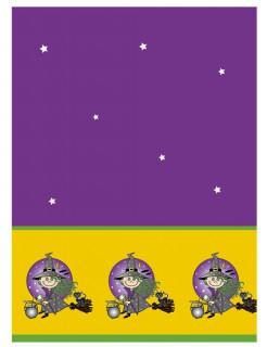 Tischdecke Hexe Halloween-Deko lila-schwarz