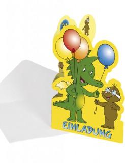 Einladungskarten Tabaluga Kindergeburtstag-Deko 8 Stück gelb-bunt