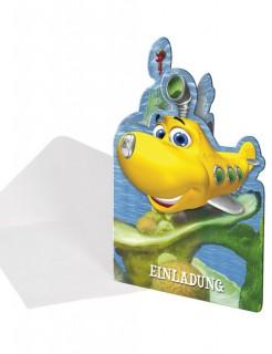 Einladungskarten Set Tauch Timmy Tauch Kindergeburtstag-Deko 8 Stück bunt