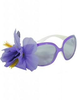Hawaii Brille mit Blüte flieder