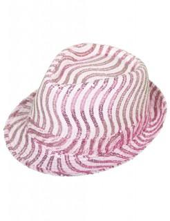 Fedora Pailletten Damenhut pink-weiss