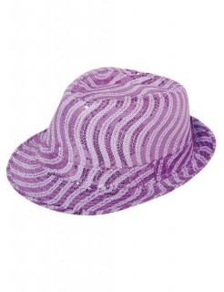 Fedora Pailletten Damenhut lila-weiss