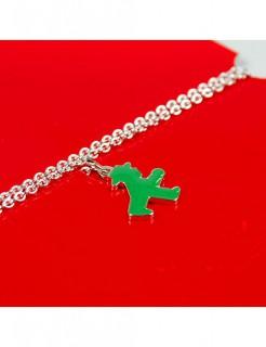 Ampelmännchen Halskette Anhänger Ostalgie silber-grün