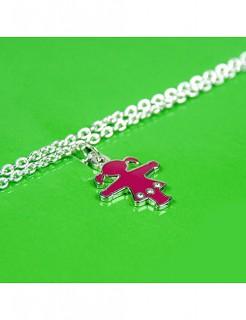 Ampelfrau Halskette Ostalgie silber-pink